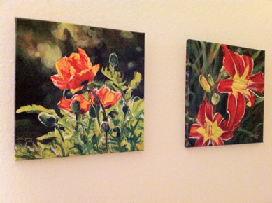 Latest acrylic paintings of flowers - 12x12 inch gallery-wrapped canvas