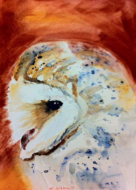 Barn Owl - watercolor on watercolor paper (9x12 inches)