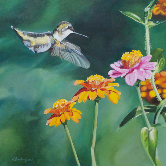 Hummingbird - acrylics on gallery-wrapped canvas (24 x 24 inches)