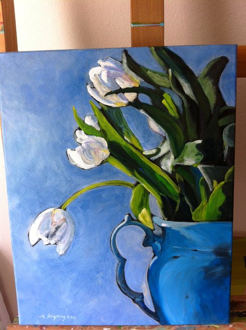 White tulips - acrylic on canvas (16x20 inches)