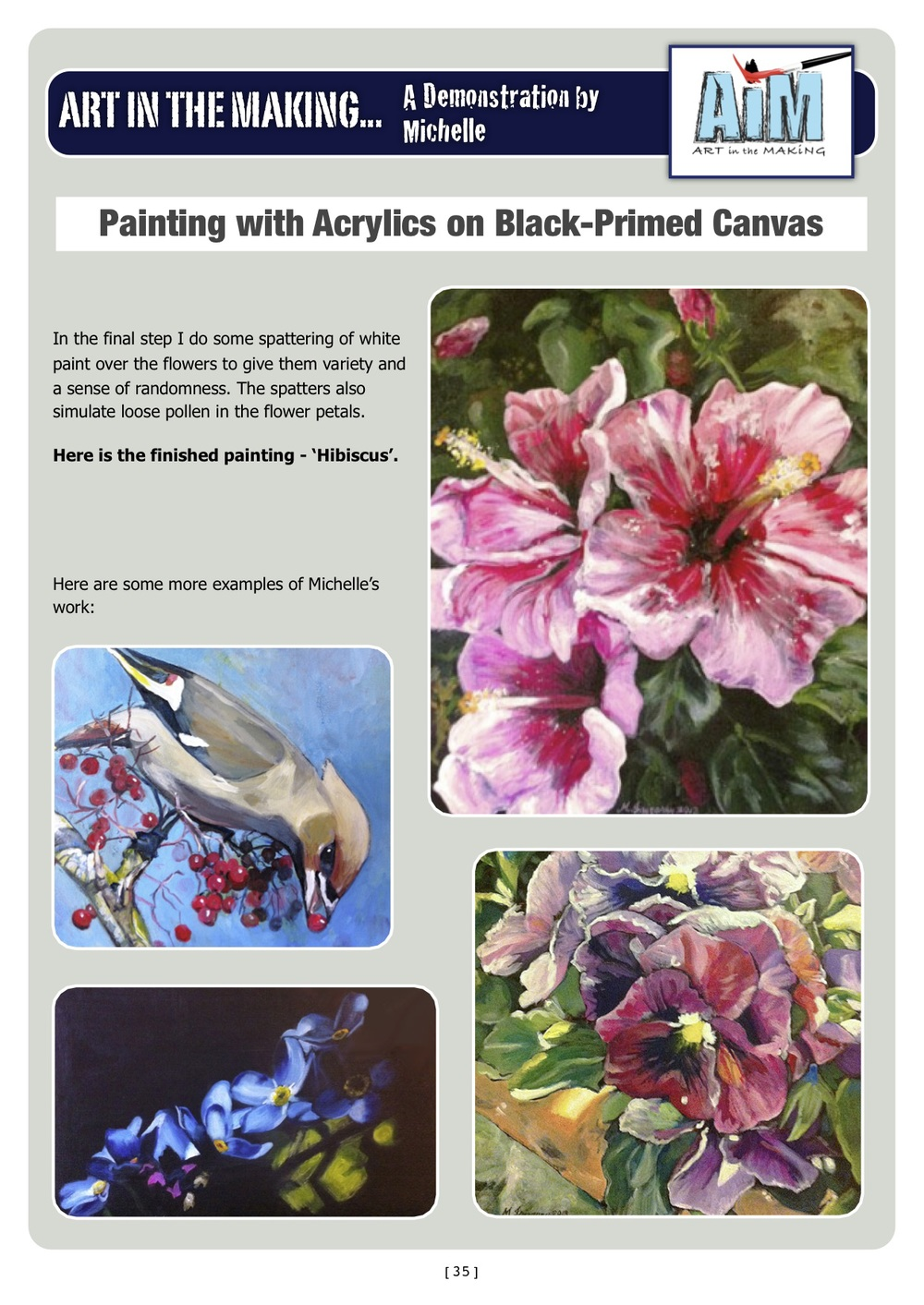 "My acrylic work featured in the Summer 2013 newsletter of the ""Paint my Photo"" website"