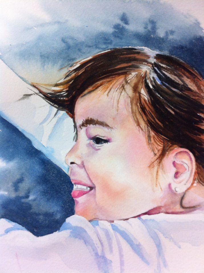 Valeria Sofia - Watercolor on watercolor paper (8x10 inches)