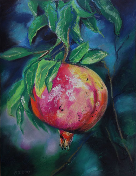 Pomegranate - oil pastel on gessoed watercolor paper (9x12 inches)