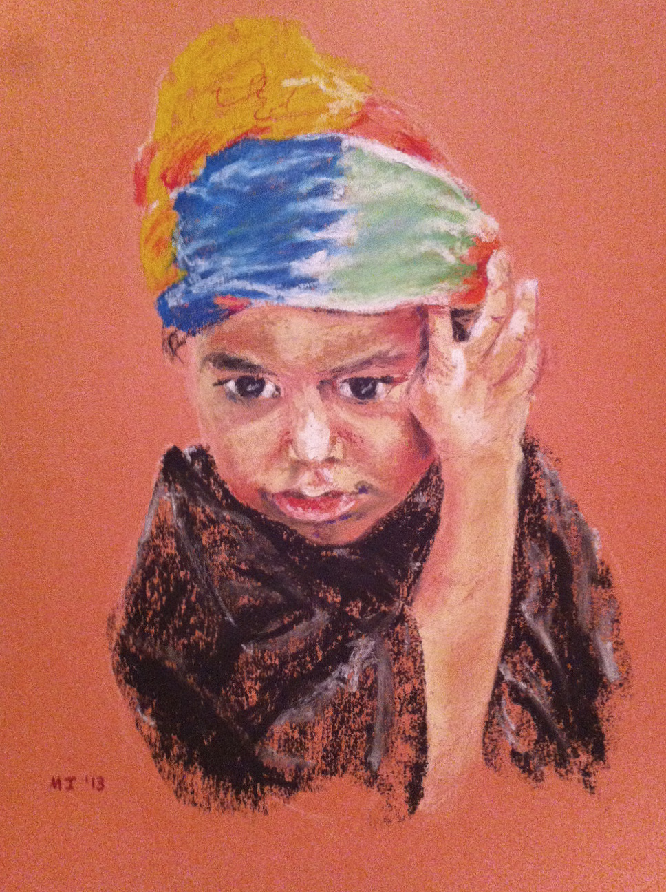 Rasta Boy - oil pastel on Canson Mi-Teintes paper (9x12 inches)