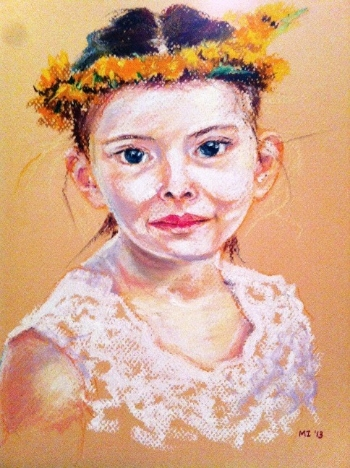 Flower girl - Oil pastel on Canson Mi-Teintes paper (9x12 inches)