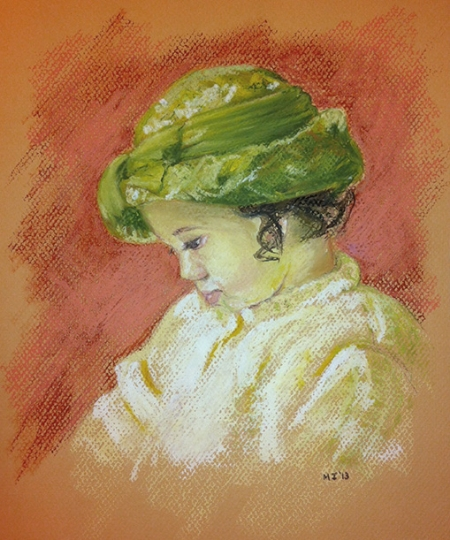 Girl with a hat - Oil pastel on Canson Mi-Teintes (9x10 inches cropped)