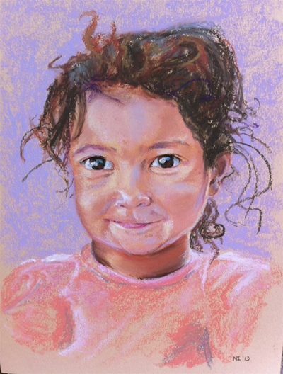 Little girl - oil pastel on Canson Mi-Teintes paper (9x12 inches)