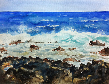Seascape - watercolor on watercolor paper (15x11 inches)