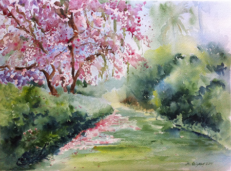 Maclay Gardens, Florida - watercolor on watercolor paper (15x11 inches)