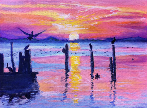 Sunset - oil pastels on gessoed watercolor paper (15x11 inches)