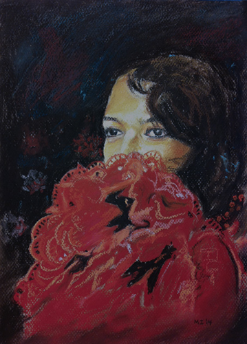 Spanish senorita - oil pastel on Canson Mi-Teintes paper (9x12 inches)