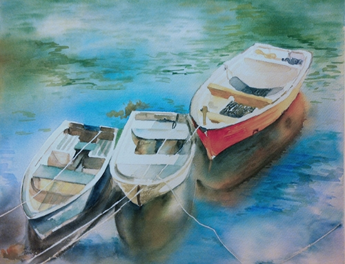 Colorful Boats - watercolor on watercolor paper (15x11 inches)