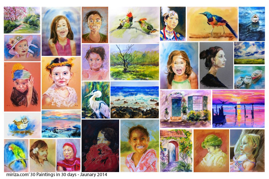 miriza's 30 Paintings in 30 days - January 2014 - All paintings are watercolors or oil pastels on paper
