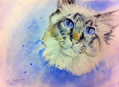 Kitty cat-watercolor on watercolor paper (11x15 inches)