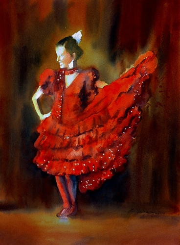 Flamenco flame - watercolor on watecolor paper (11x15 inches)
