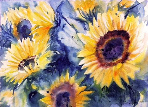 Sunflowers - watercolor on watercolor paper (11x15 inches)