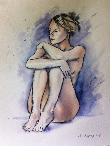 Pensive - watercolor and Tombow marker on watercolor paper (11x15 inches)