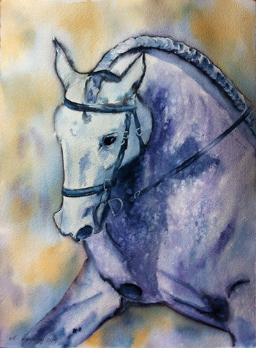 Horse - watercolor and Tombow marker on watercolor paper (11x15 inches)
