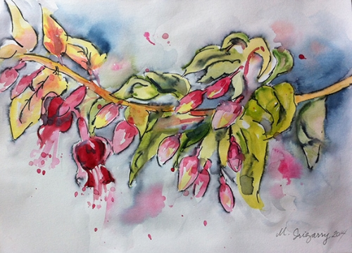 Fuchsia sketch - watercolor and Tombow maker on watercolor paper (9x12 inches)