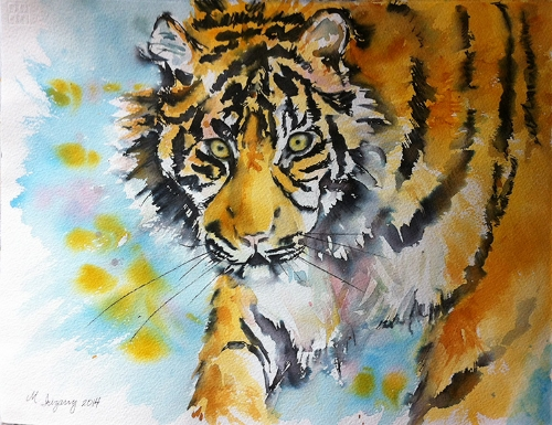 Tiger - watercolor and Tombow marker on watercolor paper (11x15 inches)