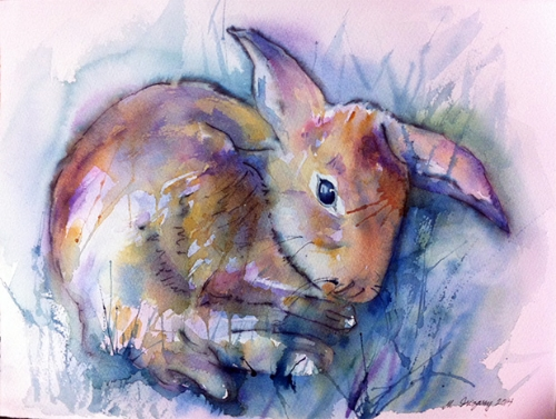 Bunny - watercolor and Tombow marker on watercolor paper (11x15 inches)