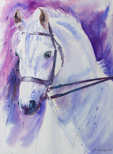"""White horse"" - watercolor on watercolor paper (11x15 inches)"