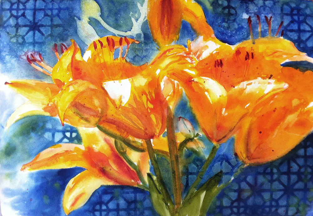 Lilies - watercolor on watercolor paper (22x15 inches)