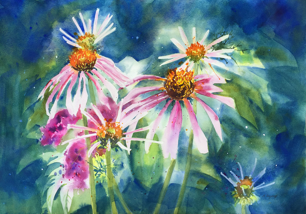 Coneflowers - watercolor on watercolor paper (22x15 inches)