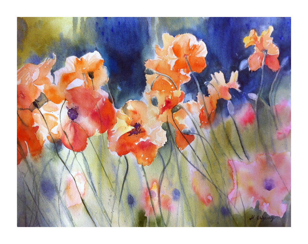 """Orange poppies"" - watercolor on watercolor paper (15x11 inches)"