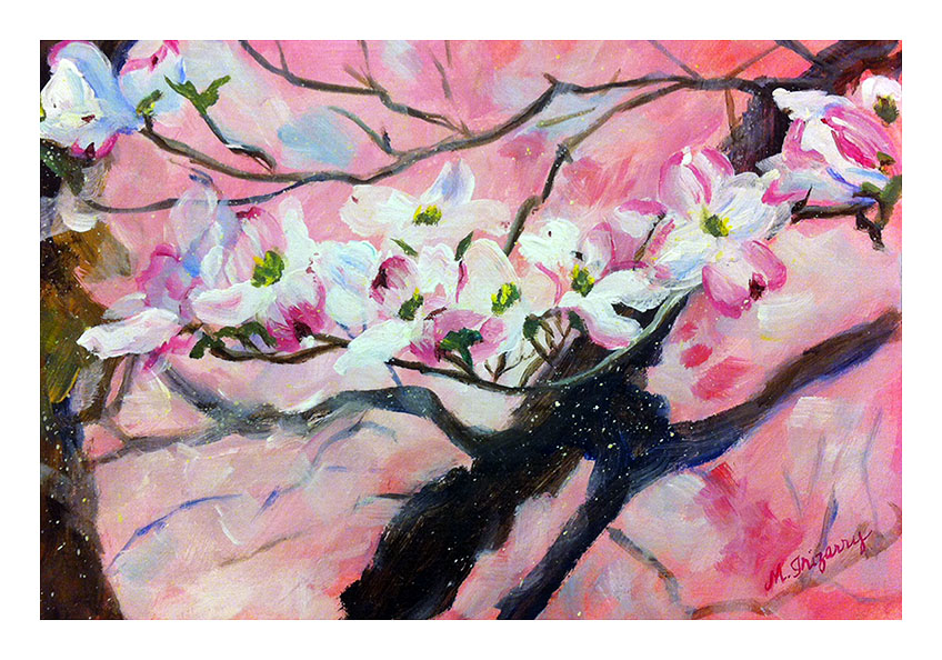 """Pink Blossoms"" - acrylic on matboard (approx. 10x8 inches)"