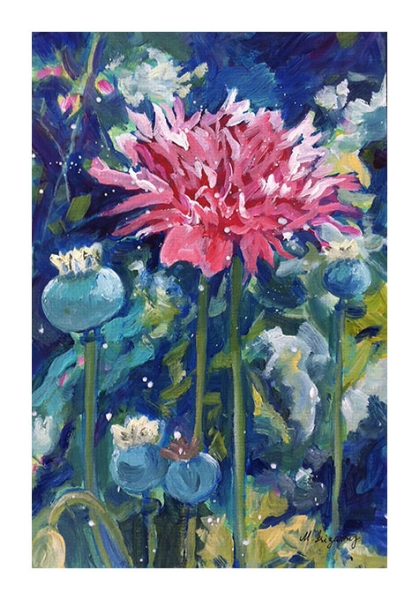 """Pink Papaver"" - acrylic on matboard (approx. 8 x 10 inches)"
