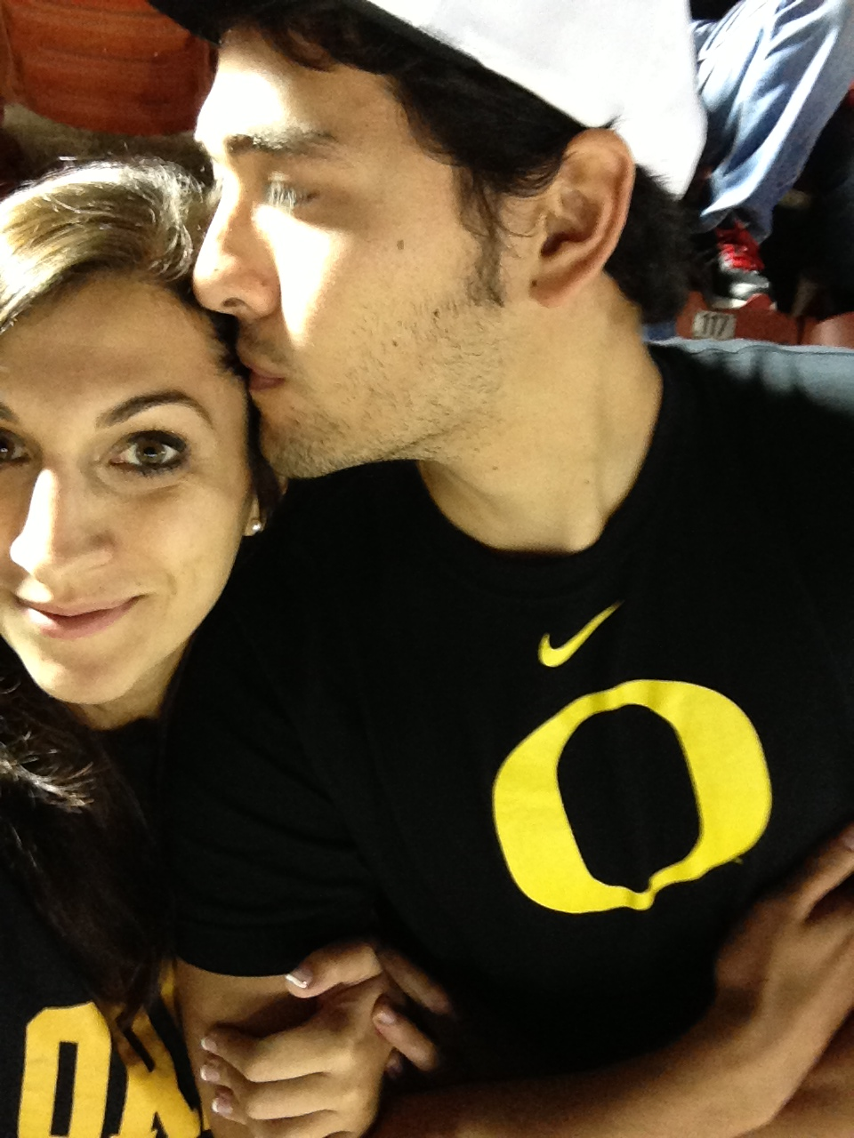 Thanks to Brad for helping me. (Photo taken at the USC/Oregon game.)