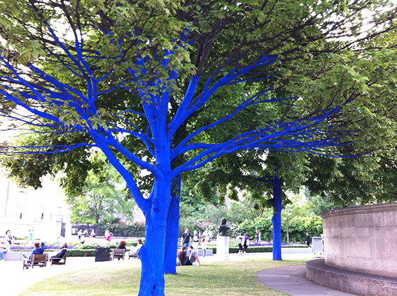 Konstantin Dimopoulos's  Blue Trees environmental art installation