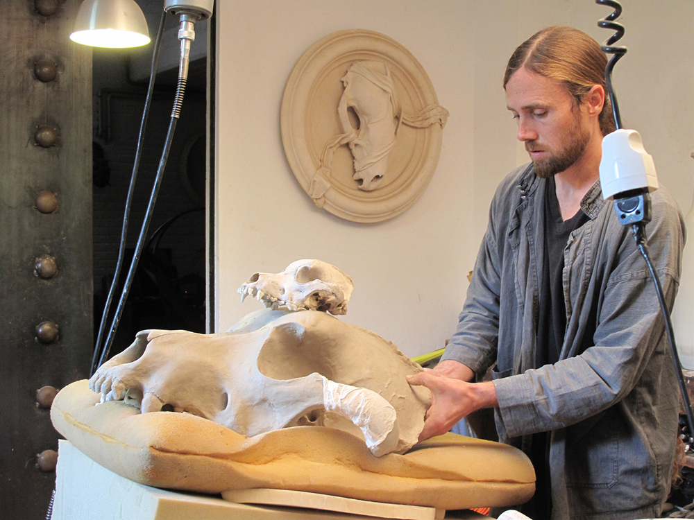 Daniel at work on his Canis Lupus Familiaris piece.