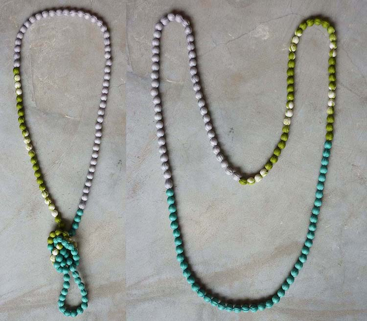 Tricolor long silk necklace