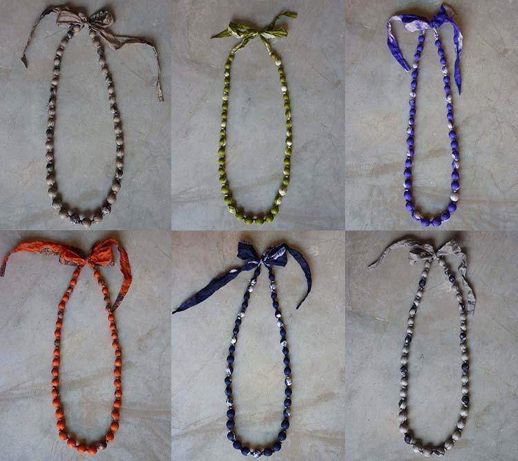 Tie dye silk necklace colourways