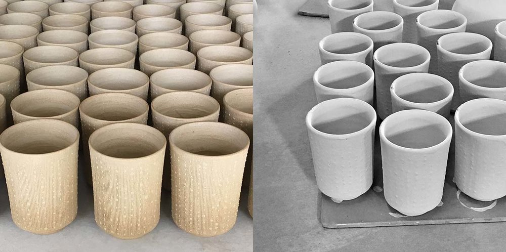 To the left: Our coral cups are drying prior to biscuit firing. To the right: The coral cups have been glazed and are waiting to be fired.