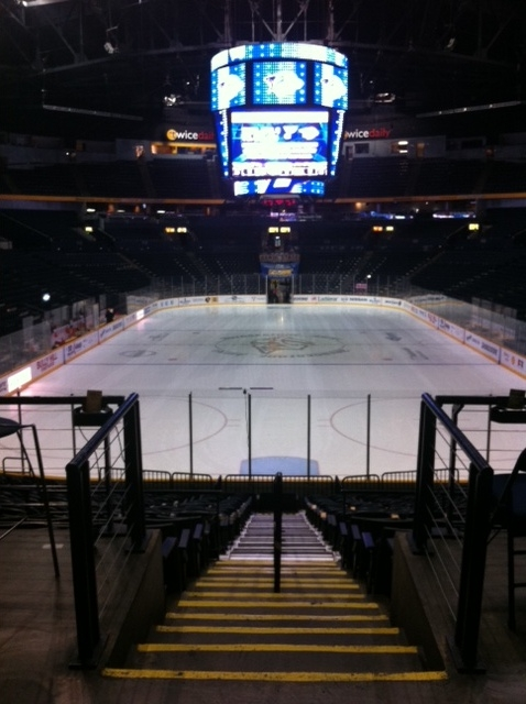 Pre-game quiet time at Bridgestone Arena
