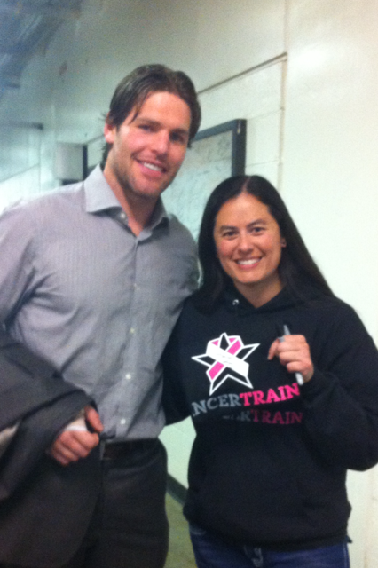 #12 Mike Fisher signs a Cancer Train shirt