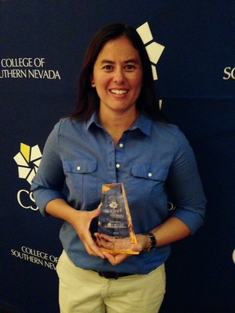 "Trish Georges was awarded the ""Excellence in Community Service Award"" by the College of Southern Nevada in August 2014!"