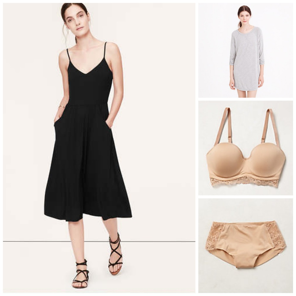 Loft Midi-length Cami Dress ($78.35 CAD)  |  J.Crew Whisper Jersey Nightshirt ($64)  |  Calida Strapless/Convertible Bra ($69) via Anthropologie  |  Calida Boyshorts ($28) via Anthropologie