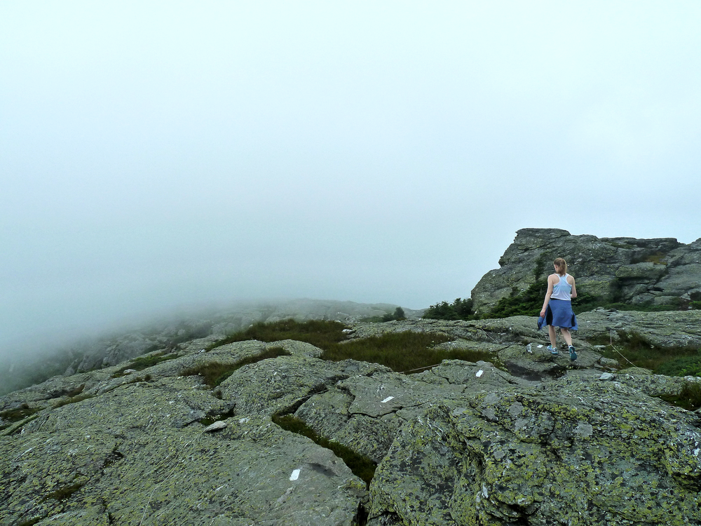 Hiking through the clouds on Mount Mansfield in Vermont