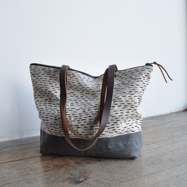 Bookhou | Zip Tote (with shoulder strap) in Rain | $125 USD