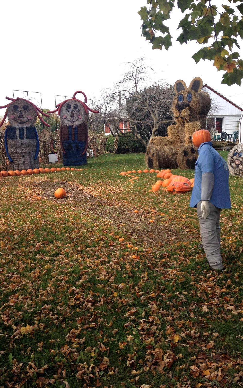 Bowling with pumpkins and pumpkin-gator spectators.
