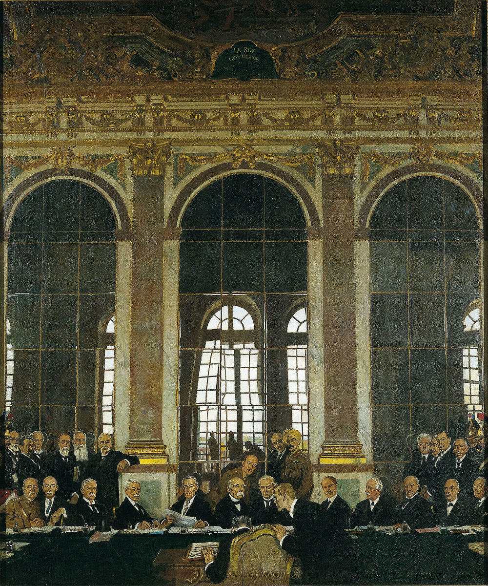 via  Wikimedia Commons  | The Signing of Peace in the Hall of Mirrors, Versailles, 28th June 1919 by Sir William Orpen