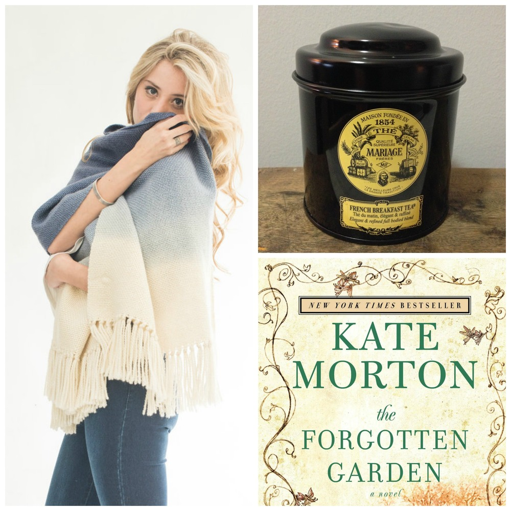 Blue Hand Woven Merino Shawl by Texturable ($130 USD) | Mariage Frères French Breakfast Tea (€15 for 30 sachets) | Kate Morton The Forgotten Garden ($8.99 CAD) via Amazon