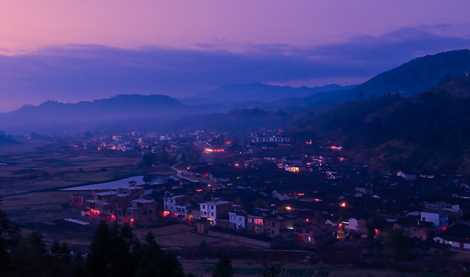 the village at dusk