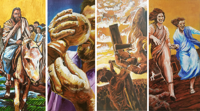 From left to right:  Triumphant ,  Cup of Salvation ,  Crucified , and  Good News . Original art by  Kevin Lindholm , commissioned by Trinity for Holy Week (2017).