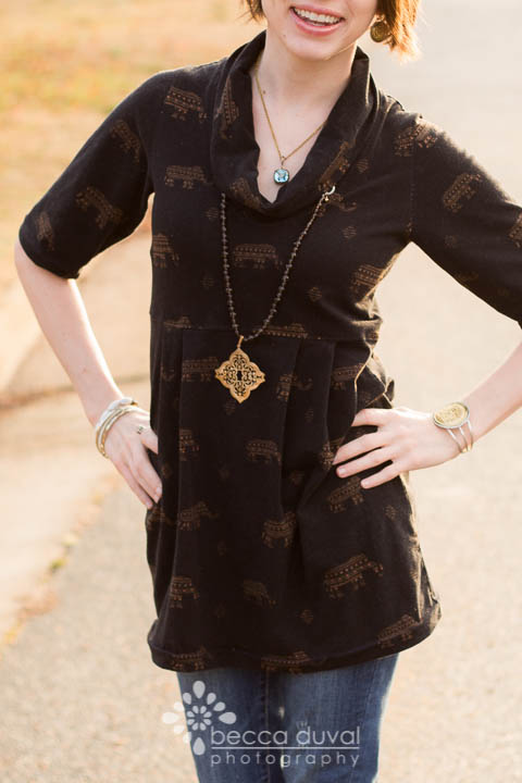 Greenstyle Laurel Tunic in Girl Charlee Knit | Jewelry Styled by Krystle Clark, Rep with Esbe Designer Jewelry
