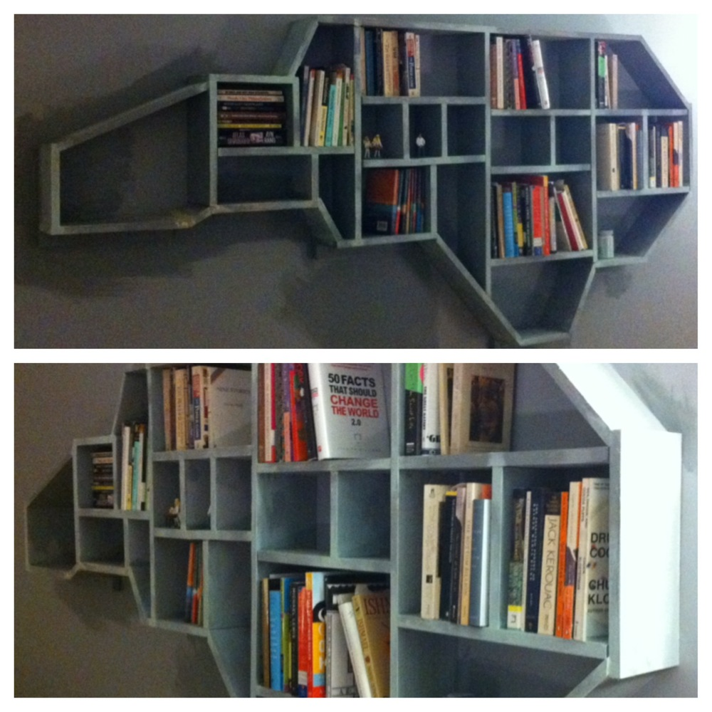 To commemorate my 20 years in North Carolina, I made a bookshelf in my house.  These are pictures of it under construction